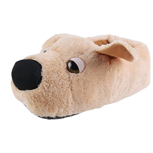 Tierhausschuhe Hund Retriever Tier Hausschuhe Pantoffel Puschen Schlappen Kuscheltier Plüsch Kinder Braun 36-41, TH-SPWBBN Braun