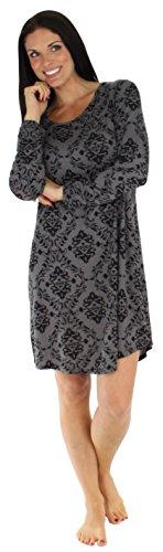 bSoft Women's Sleepwear Bamboo Jersey Long Sleeve Nightgown Grey Damask (BSBJ1820-1050-S/M)