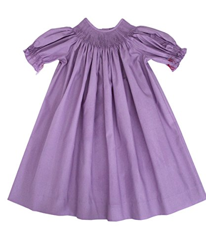 Carouselwear Girls Ready to Smock Lavender Purple Cotton Bishop - Lavender Bishop