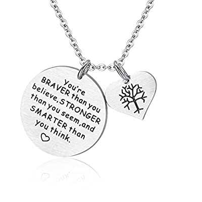 'You are braver than you believe' + 'She believed she could so she did' with Heart Tree of Life Necklace