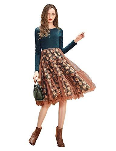 Artka Women Formal Midi Dress Floral Embroidery Hem Veil Skirt Crew Neck Long Sleeve Dark Green ()