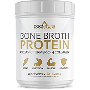 Bone Broth Protein Powder - Organic Turmeric & Collagen Peptides Unflavored - Premium Natural Grass Fed, Keto & Paleo Friendly Nutrition, Non-GMO, Gluten Free - Supports Joints & Gut Health - 16.42oz