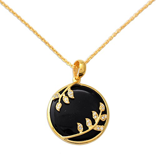 NOVICA Multi-Gem Onyx 22k Yellow Gold Plated .925 Sterling Silver Pendant Necklace 'Dewdrop Nature' ()