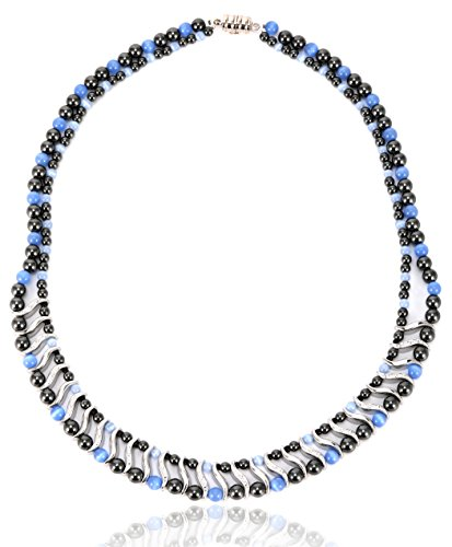 Elegant Womens Hematite Magnetic Therapy Necklace With Healing Stones Pain Relief for Neck Arthritis Migraine Headaches Shoulders And Back (Regular, Blue Cat Eye)