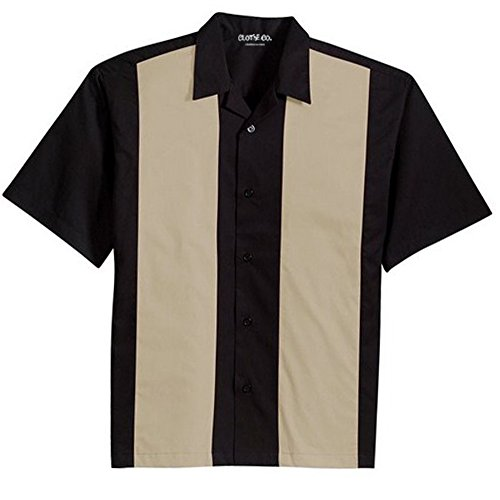 Texture Camp Shirt - Clothe Co. Mens Retro Bowling Camp Shirt, Black/Light Stone, 2XL