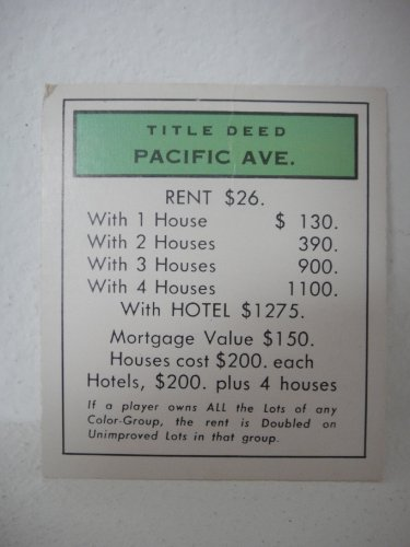 1961 Monopoly Replacement Parts Title Deed Pacific Ave. (Avenue) Card