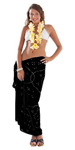 1 World Sarongs Donna Pareo Copricostume Nero Tinta Unita con Strass