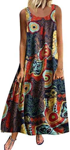 Women Plus Size Casual Loose Sleeveless Boho Retro Linen Print Long Maxi Dress / Women Plus Size Casual Loose Sleeveless Boho Retro Linen Print Long Maxi Dress