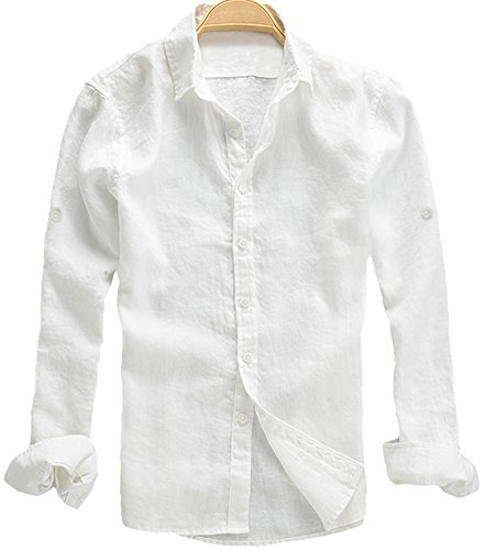Youhan Men's Long Sleeve Fitted Linen Shirt Large White