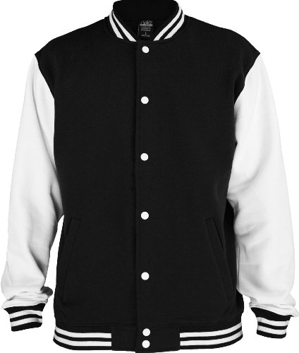 "Urban : ""2-tone College Sweatjacket"" Size: 3XL, Color: black-white …TB207"