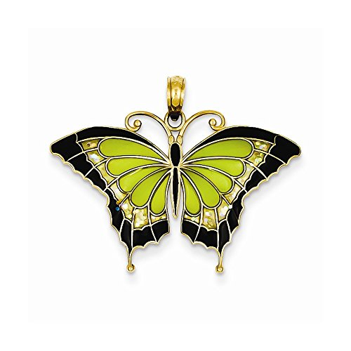 14K Yellow Gold Green Stained Glass Wings Butterfly Pendant with Acrylic by Nina's Jewelry Box