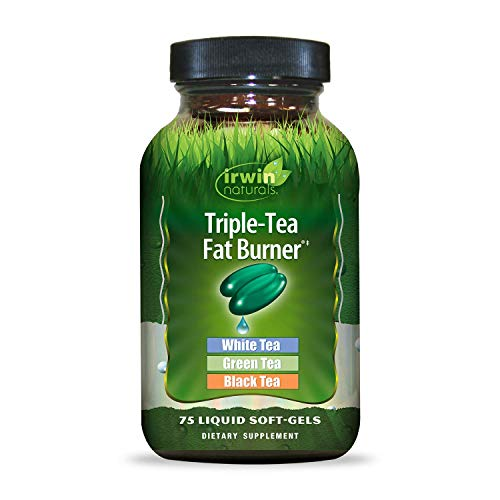 Irwin Naturals Triple-Tea Fat Burner - White, Green & Black Tea - Antioxidant Rich Metabolism Booster - 75 Liquid Softgels