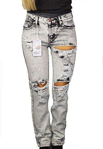 GLAMOROUS Damen Jeans Gr 36 Grau Weiß Denim UsedLook Hose Pants O133 ... 4cda2b5e03