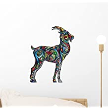 Cheerful Goat Wall Decal by Wallmonkeys Peel and Stick Graphic (12 in H x 9 in W) WM171168