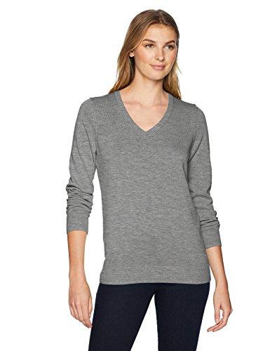 Woman In Light (Amazon Essentials Women's Lightweight V-Neck Sweater, Light Grey Heather,)