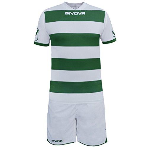 Stock 10 Completo Calcio Maglietta Maniche Corte e Pantaloncini Givova Kit Rugby, Colore: Bianco/Verde, Taglia: M