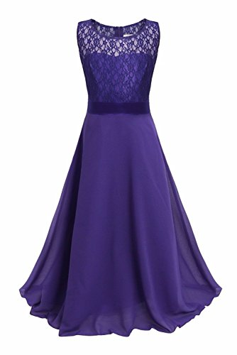 FEESHOW Girls Kids Lace Flower Wedding Pageant Party Chiffon Long Maxi Dress Deep Purple 14 (Teen Christmas Dress)