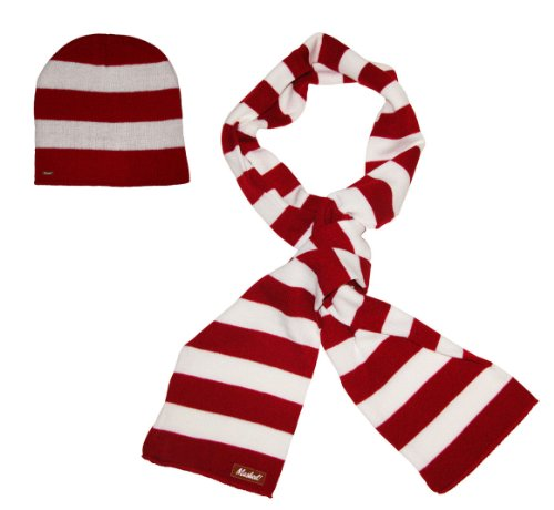 White Striped Beanie (Mashed Clothing Thick Knit Narrow Striped Winter Scarf & Beanie for Men & Women (Red & White))