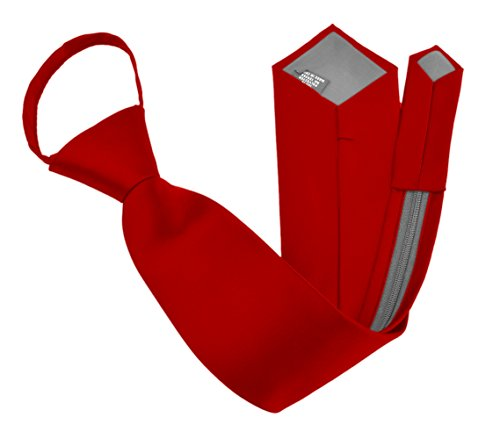 17 Inch Zipper Ties (Moda Di Raza - Men's / Boy's Zipper Tie Neckwear Polyester -Red/17 IN)