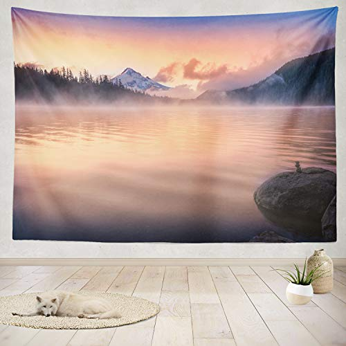 (ONELZ Decor Collection, Sunrise Landscape Mountain Nature Forest Spring Summer Sunrise Water Bedroom Living Room Dorm Wall Hanging Tapestry 80