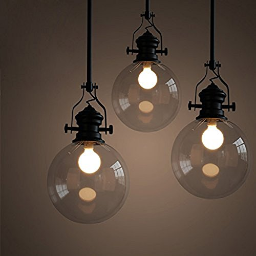 Large Clear Glass Globe Pendant Light in US - 8