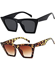 ASHOWIN lentes de sol cuadradas de ojo de gato para mujer Estilo de moda a la moda 2paquetes (negro, leopard)