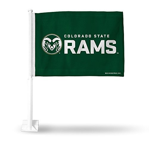 NCAA Colorado State Rams Car Flag, Green, with White Pole by Rico