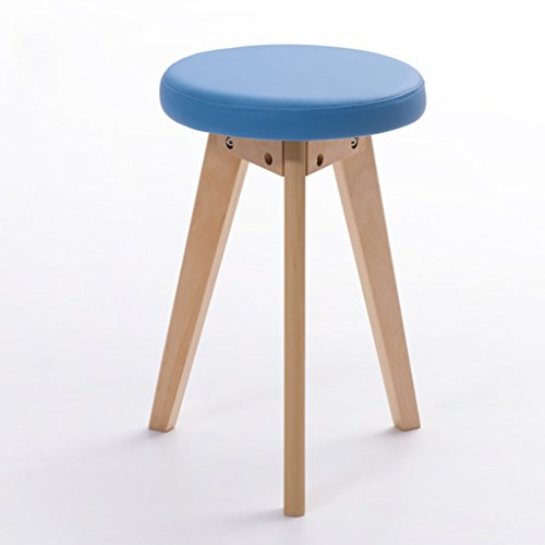 AIDELAI Stool Small Stool Fashion Creative Stool Simple Stool Solid Wood Stool Home Leather Stool Fabric Stool Dressing Stool (32 32 48cm) Saddle Seat ( Color : B , Size : #2 ) by AIDELAI