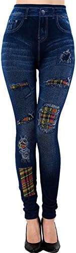 Basic Apparel USA Womens Jeans Leggings Washing Denim Print Fake Jeans Prints Leggings (XS-L)