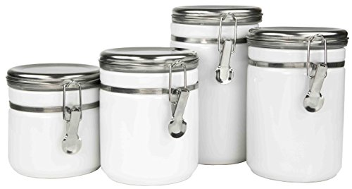 Home Basics CS44771 4 Piece Canister Food Storage Set with Stainless Steel Top, White
