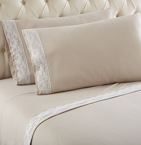 Thermee Micro Flannel Lace Edged Sheet Set, Full, (Lace Flannel Bedding)