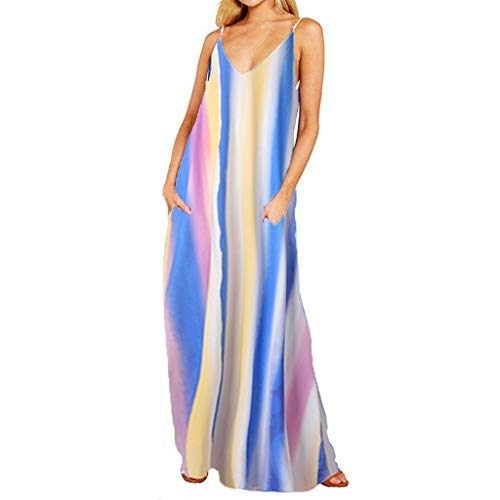 TOTOD Dress - Womens Sleeveless Bohemian Tie-Dye Illusion Print Racerback Long Tank Beach Sundress(Blue-Stripe,L)