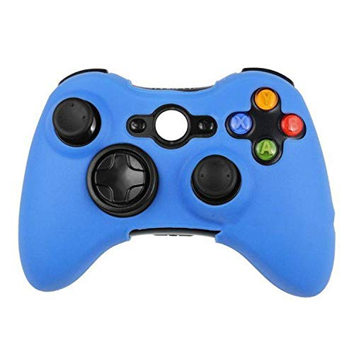 Silicone Protective Skin Case Cover for Microsoft Xbox 360 Wireless / Wired Controller + Thumb Sticks Caps Grips,Light Blue