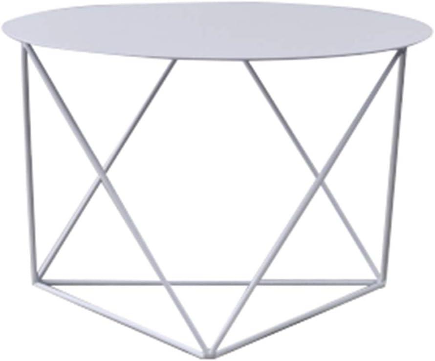 Tavolino da caff/è JCOCO Ferro battuto in Stile Nordico Tavolo da Balcone Rotondo Colore : Bianca
