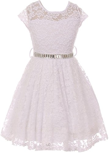 Big Girl Cap Sleeve Lace Skater Stone Belt Flower Girls Dresses (19JK88S) White 10