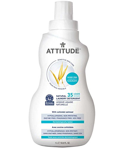 ATTITUDE Sensitive Skin, Hypoallergenic Laundry Detergent, Fragrance Free, 33.8 Fluid Ounce, 35 Loads (Attitude Baby Detergent)
