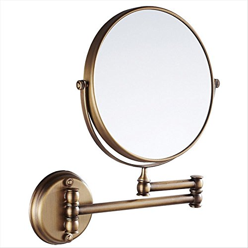 - 7Trees 8-Inch Retro Bathroom Folding Wall Mount Make-Up Mirror Flip Telescopic Beauty Mirror (Antique Brass)