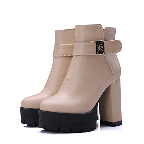 AgooLar Women's Soft Material Zipper Round Closed Toe High-Heels Low-top Boots with Metal Beige yvT6Uj