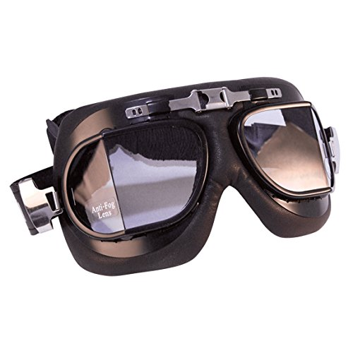 Emgo Roadhawk Leather Classic Split Lens Goggles (Black) Emgo Goggles