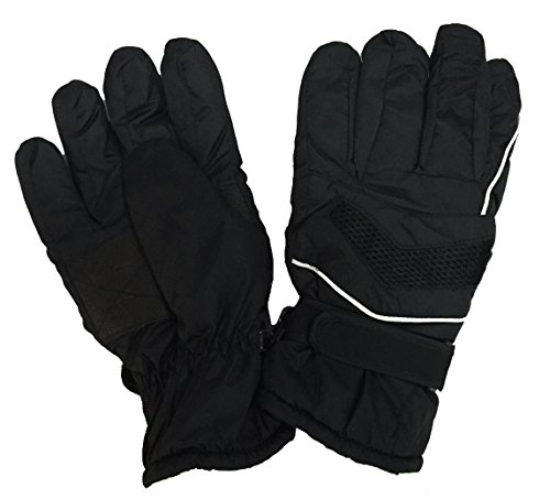 Men's Winter Warm Ski Gloves, Skiing, Snowboarding, ATV, Outdoor - Adjustable Straps - Waterproof (Black) (Skiing Mitts Men)