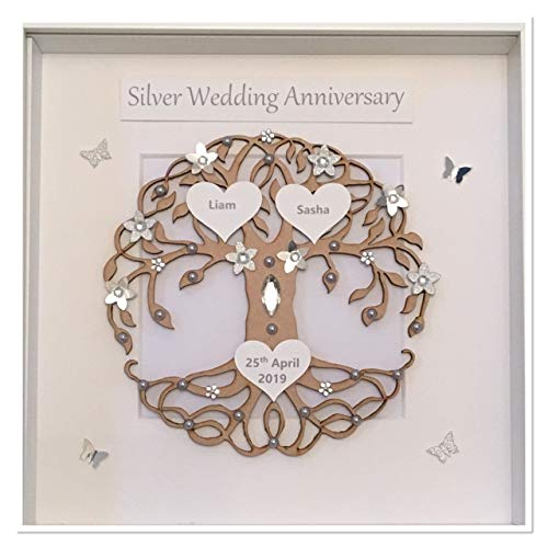 Handmade Wall Plaque 25th Silver Wedding Anniversary personalised Gift