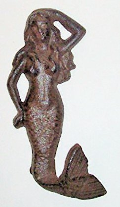 [Aunt Chris' Products - Heavy Cast Iron Mermaid - With a Hooked Tail - (Wall Hung - Rustic Color Finish - Hangs By A Loop Hook On] (Melody Costume)