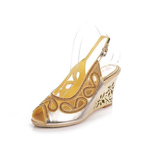 Meijili - Sandalias mujer dorado