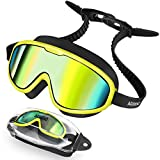 Aegend Kids Swim Goggles for Age 6-12, No Leaking Anti Fog Swimming Goggles for Youth Kids Childs, Mirrored Lenses, Yellow Green