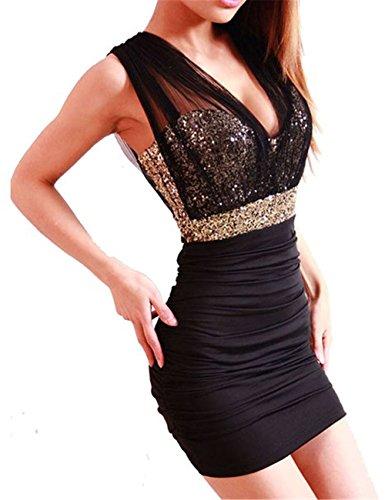 HOUSWEETY Sexy schwarz Damen Rückenfrei Pailletten Kleid Minikleid Party Abendkleid Cocktailkleid Dress Skirt S