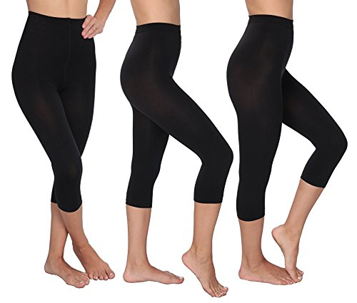(L'eggs Control Top Capri Footless Tights, 3 Pack, Black, Large)