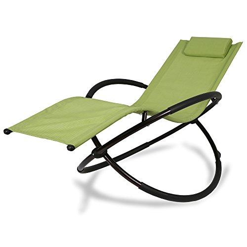 Patio Tree Orbital Zero Gravity Patio Chaise Lounge Rocking Lounger, Outdoor Lounge Chair (1, Green)