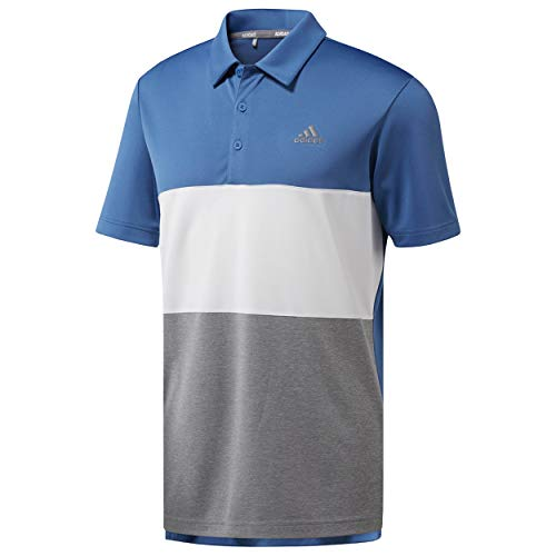 (adidas Men's Advantage Wide Colorblock Golf Polo (M, Trace Royal/White))