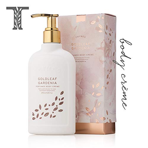 Thymes Goldleaf Gardenia Perfumed Body Crème with Pump - Deeply Moisturizing Floral Scented Cream - 9.25 oz