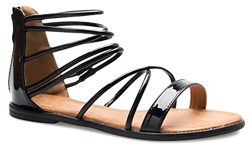 Shiny Patent (OLIVIA K Women's Flat Strappy Gladiator Sandals - Shiny, Patent, Sexy, Comfortable)